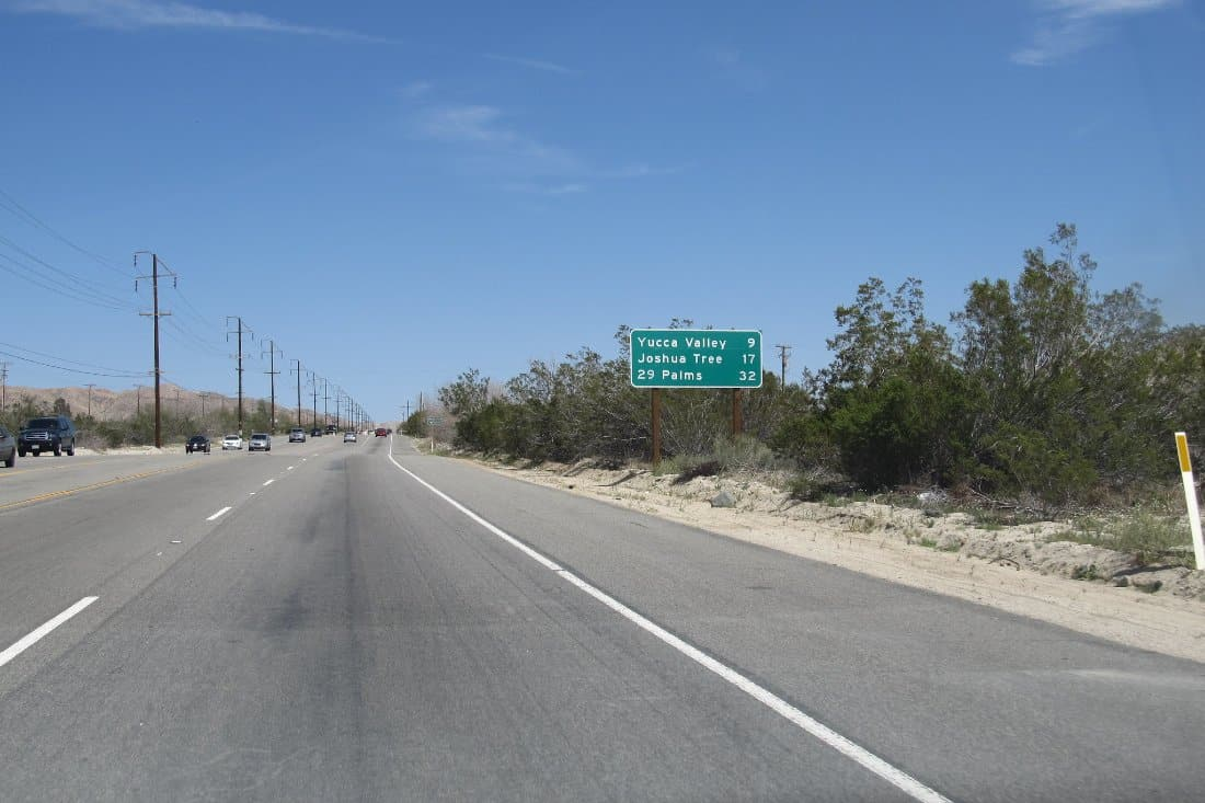 road to Yucca Valley Community Pool and joshua tree
