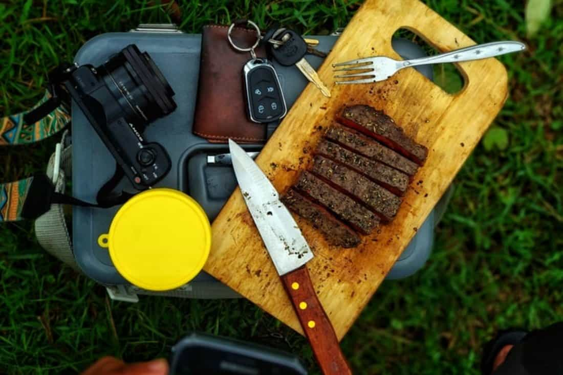 Knife and a folk for camping
